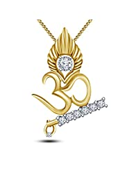 14k Gold Plated OR White Platinum Plated Round Cut White Cubic Zirconia R Pendant With Chain Specially For Ganesh...