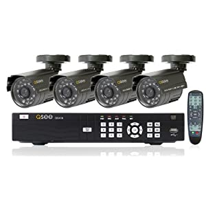 Q-See QS408-411-5 Precision Recording Security System with 4 Indoor/Outdoor Cameras and Pre-Installed 500GB Hard Drive