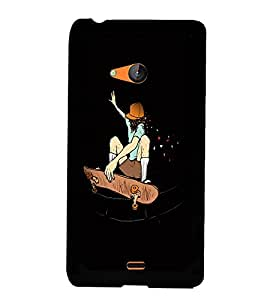 Fuson Premium Skating Girl Metal Printed with Hard Plastic Back Case Cover for Microsoft Lumia 540