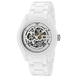 Emporio Armani Men's AR1415 Ceramic White Skeleton Dial Watch
