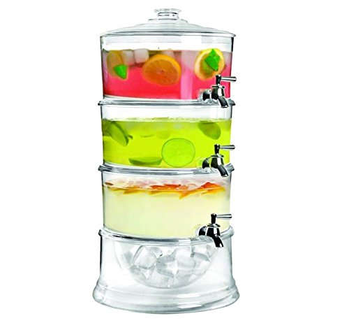 Jumbl Stackable 3-Gallon Beverage Serve-Chilled Dispenser | 3-Tier Ice Chamber Base & Cooling Shafts (Beverage Serve compare prices)