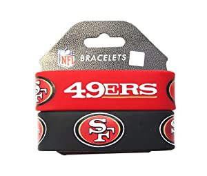 NFL San Francisco 49ers Silicone Rubber Bracelet Set, 2-Pack by aminco