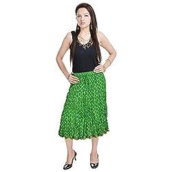 Prateek Retail Rajasthani Ethnic Green Cotton Short Skirt
