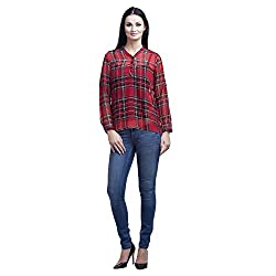 Mallory Winston Red Checkered Women's Tops (Small)