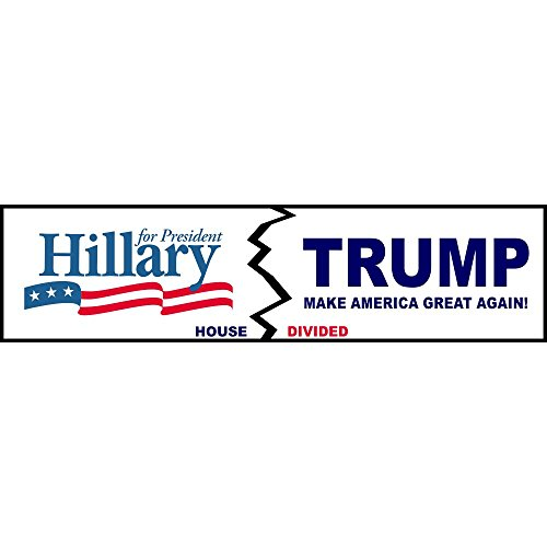 House Divided Hillary Clinton/Donald Trump Funny Decal Sticker | Political Bumper Sticker (Divided Houses Clinton compare prices)