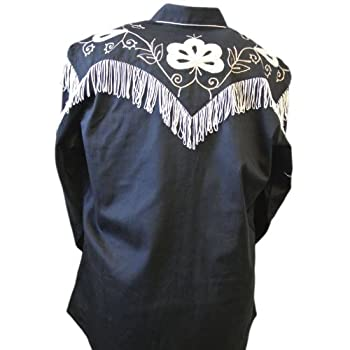 Rockmount Men's Vintage Western Embroidered Fringe Snap Shirt