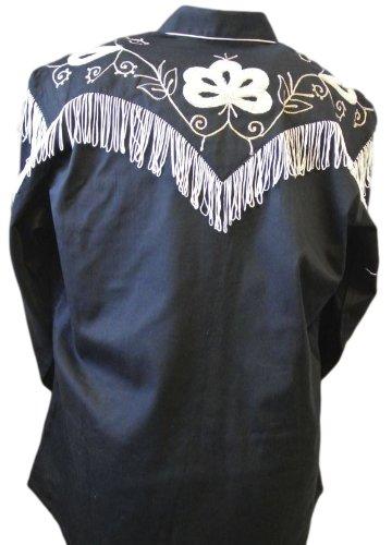 Rockmount Men's Vintage Western Embroidered Fringe Snap Shirt 1