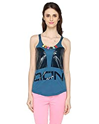 Bedazzle Casual Sleeveless Printed Women's Blue Top