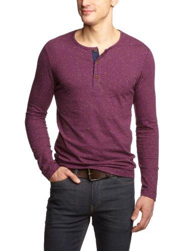 Selected Homme Jeans Brich Long Sleeve Split Neck C Men's T-Shirt Potent Purple Melange X-Large
