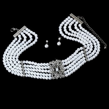 Pearl Necklace and Earrings w/ Rhinestone Accent Bridal Jewelry Set