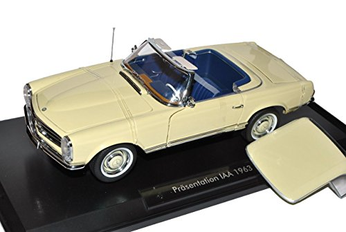 Noreve Mercedes-Benz 230SL Pagode Roadster Beige Cream W113 1963-1971 1/18 Norev Modell Auto mit individiuellem Wunschkennzeichen