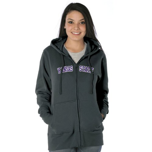 NCAA Kansas State Wildcats Women's Franchise Redux Nuvola Cotton Sueded Full-Zip Hooded Sweatshirt (Graphite, X-Large) Amazon.com