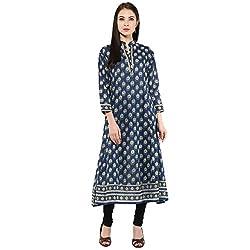 Bhama Couture Blue Printed Anarkali Kurti X-Large