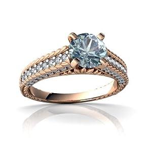 Genuine Aquamarine 14kt Rose Gold engagement Ring - Size 5.5