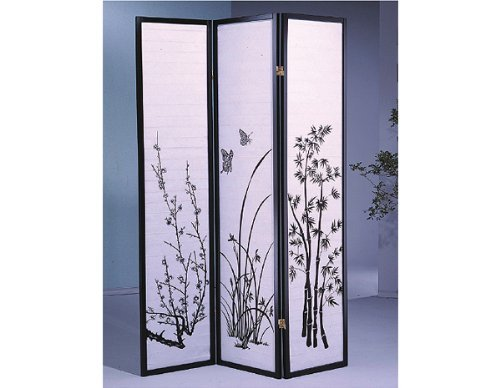 Cheapest Prices! 3 Panel Flower Design Wood Shoji Screen / Room Divider