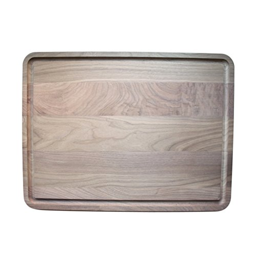Extra Large Rectangular Walnut Wood Cutting and Chopping Board with Juice Drip Groove (18 x 24 Inches)