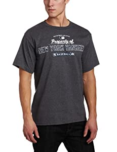 MLB Men's New York Yankees Property Of Short Sleeve Basic Crew Neck Tee by Majestic (Pro Carbon Heather, Small)