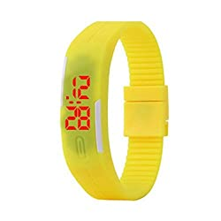 TurboTech Fashion Sport LED Watches Unisex Silicone Rubber Touch Screen Digital Watches, Bracelet Wristwatch - Yellow