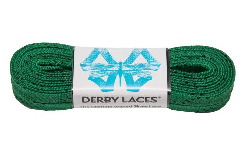 Kelly Green 108 Inch Waxed Skate Lace - Derby Laces for Roller Derby, Hockey and Ice Skates, and Boots - 1