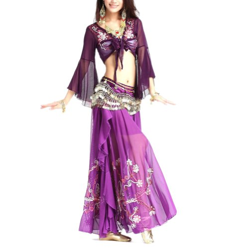 BellyLady Professional Belly Dance Costume, Tribal Wrap Top And Skirt