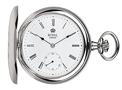 Royal London Pocket Watch 90017-01 Silver Tone Half Hunter