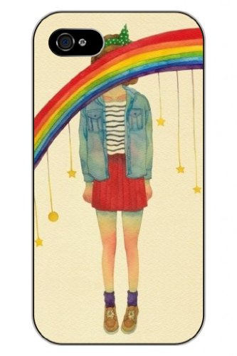 Sprawl New Fashion Design Hard Skin Case Cover Shell For Mobilephone Apple Iphone 5 5S--Teengirl And Rainbow
