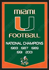 Dynasty Banner Of Miami Hurricanes-Framed Awesome & Beautiful-Must For A... by Art and More, Davenport, IA