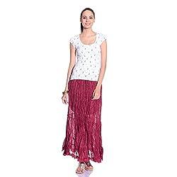 styleAVA Women's Skirt (SKRT_01_Magenta01_Mehroon_Free Size)