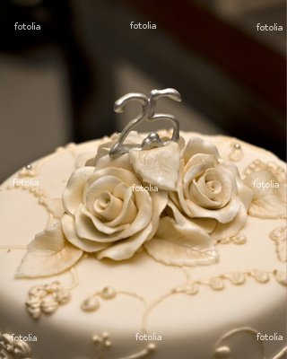 """Wallmonkeys Peel and Stick Wall Decals - 25th Wedding Cake - 24""""H x 19""""W Removable Graphic"""