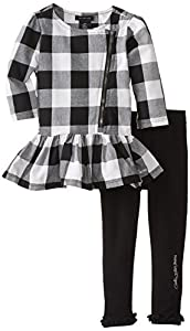 Calvin Klein Little Girls' Asymmetrical Zip Checked Tunic Set, Black/White, 5