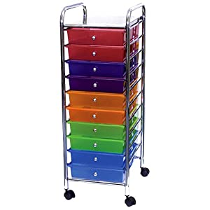 MultiColor Ten Drawer Storage Cart