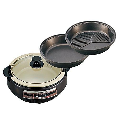 象印 土鍋風なべ&すき焼きなべ&溝つき焼肉プレート グリルなべ EP-PW30-TA