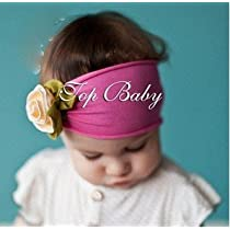 Lovely Ovely Unusal Cotton Girls Baby Flower Headband Hairband Bow Pink yellow Rose by Topbaby
