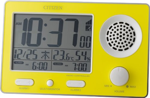 CITIZEN 大音量電波目覚まし Wアラーム機能付 スーパークリアトーンF 黄色 8RZ149-033