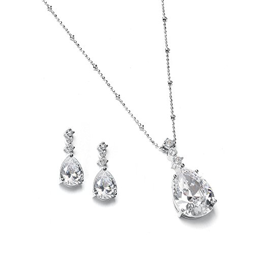 Mariell Vintage Cubic Zirconia Pear-Shaped Teardrop Necklace Set - Weddings, Bridesmaids Gifts & Formals