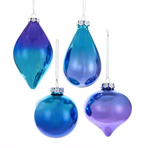 Kurt Adler 80mm Glass Peacock Color Ball, Onion, Finail & Teardrop Ornaments 4/asstd
