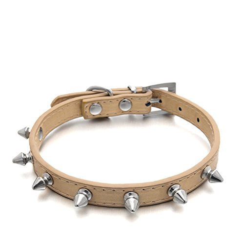 Puppy-league-Pu-Leather-Solid-Pattern-Single-Rows-Bullet-Nail-Studded-Dog-Collars-Chain-for-Pet-Dogs-Chihuahua-Gold-XS