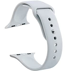 Apple Watch Band,Goodidus Soft Silicone Fitness Replacement Sport Band for Apple Watch(3 Pieces of Bands Included for 2 Lengths) (Light Grey 38MM)