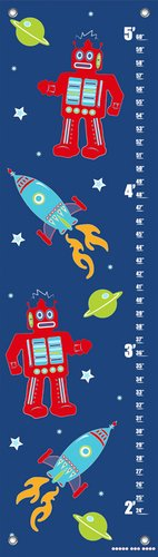 Oopsy Daisy Growth Charts Robots and Rockets Navy by Finny and Zook, 12 by 42-Inch