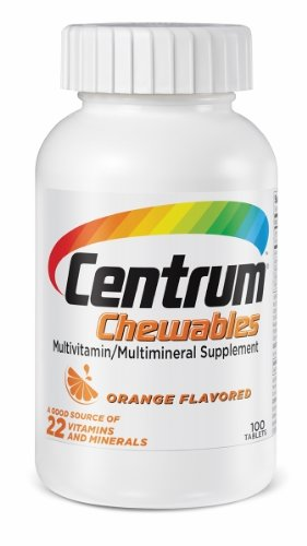 Centrum Chewable Multivitamin, Orange Flavored, 100 Tablets