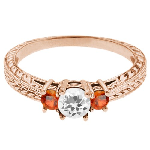 0.59 Ct Round White Topaz Orange Sapphire 18K Rose Gold 3-Stone Ring