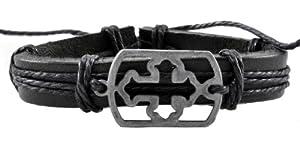 Christian Cross Leather Bracelet / Leather Wristband / Surf Bracelet #220