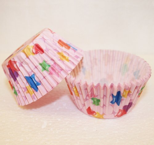 50 Paper Cupcake Cases Hearts and Stars Maxi