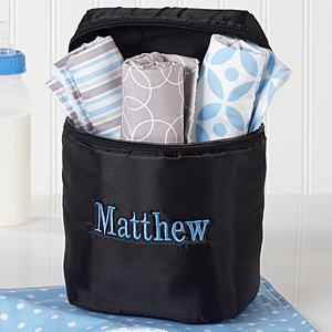 Personalized Baby Bottle Bag And Burp Cloth Set - Trendy Baby Boy - Name front-1044592