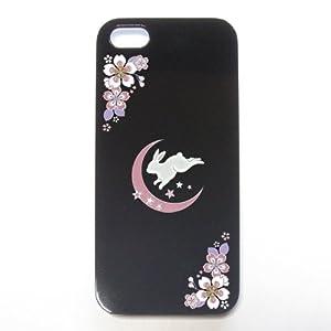 iPhone5対応 ケース ブラック うさぎと月 【iPhone5対応】【スマートフォン】【スマホ】【ケ-ス】【カバー】【Case/Cover】