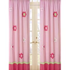 Pink and Green Flower Window Treatment Panels by Sweet Jojo Designs - Set of 2