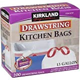 Kirkland Signature Drawstring Kitchen Trash Bags, 13 Gallon