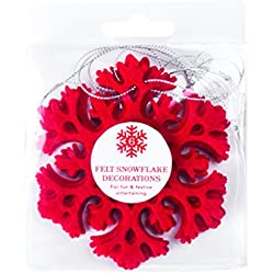 Party Partners Felt Snowflake Ornaments (Set of 6), Red