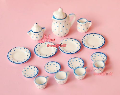 1/12 Dollhouse 15Pcs Blue Dots Miniature Porcelain Tableware China Coffee Tea Lid Pot Cups