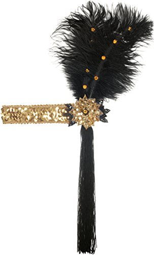 Loftus Sequined with Feather Headband Black Gold One Size